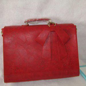 red leather brief case laptop case bag purse